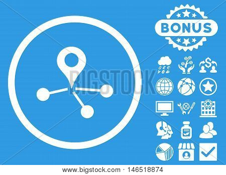 Geo Network icon with bonus. Vector illustration style is flat iconic symbols, white color, blue background.