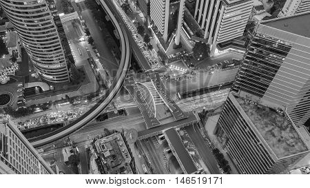 Black and White, Bangkok city road interchanged aerial view, Thailand