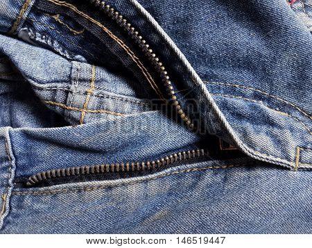 close up zipper shame on jean textile