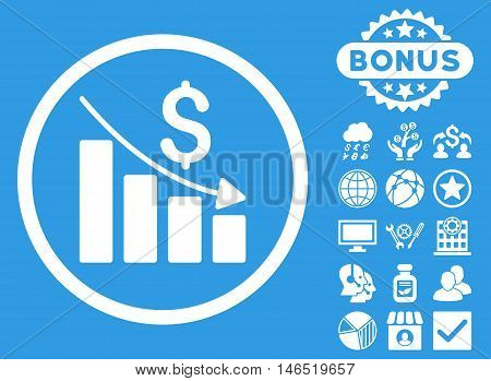 Recession Chart icon with bonus. Vector illustration style is flat iconic symbols, white color, blue background.