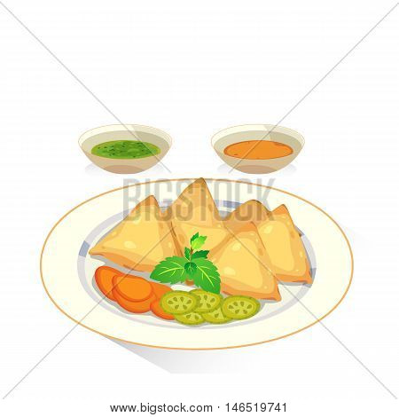 Samosa : a fried baked with spiced potatoes onion peas and dipping sauce and pickle.