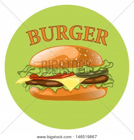 Burger. Cheeseburger vector illustration. Hamburger icon. Fast food concept.