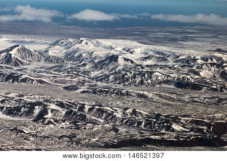 Aerial view natural mountain landscape in Iceland, natural landscape background