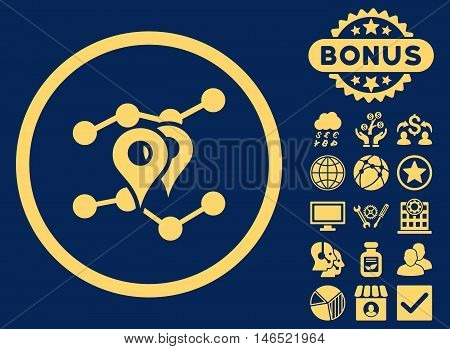 Geo Trends icon with bonus. Vector illustration style is flat iconic symbols, yellow color, blue background.