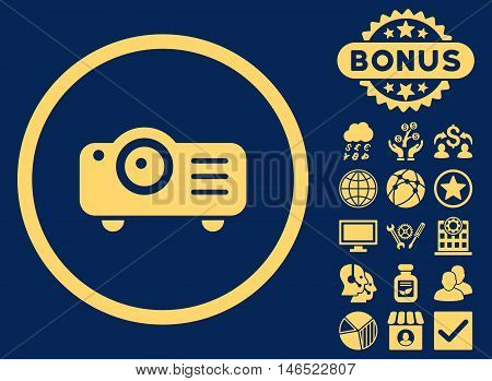 Projector icon with bonus. Vector illustration style is flat iconic symbols, yellow color, blue background.
