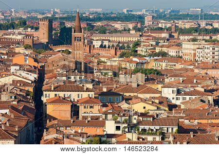 Aerial view of the city of Verona with the church of Sant'Eufemia (Saint Eufemia) and the old bridge of Castelvecchio. UNESCO site - Veneto Italy