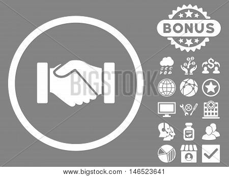 Acquisition Handshake icon with bonus. Vector illustration style is flat iconic symbols, white color, gray background.