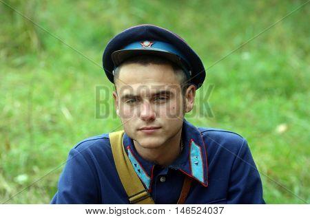 An unidentified person wears historical Soviet Militia uniform . At September 10,2016 in Kiev, Ukraine