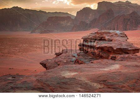 In the red desert of Wadi Rum, Jordan.
