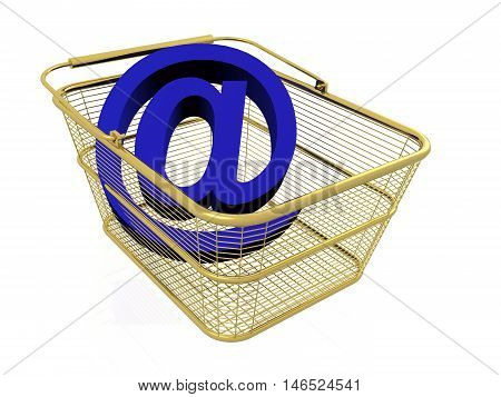 Mail sign in the basket on white background, 3D illustration.