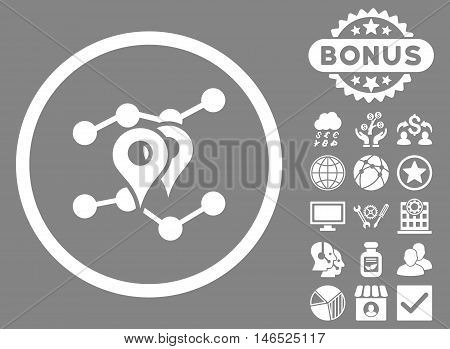 Geo Trends icon with bonus. Vector illustration style is flat iconic symbols, white color, gray background.