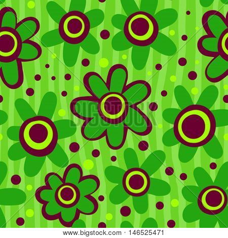 A hand drawn and completely seamless floral background pattern.
