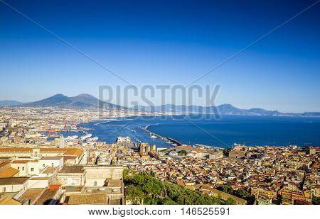 Panorama of Naples city , Campania, Italy