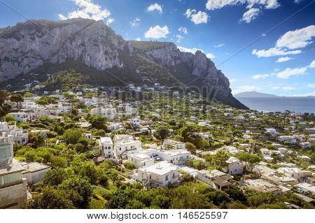 Panorama of Capri island in Campania, Italy