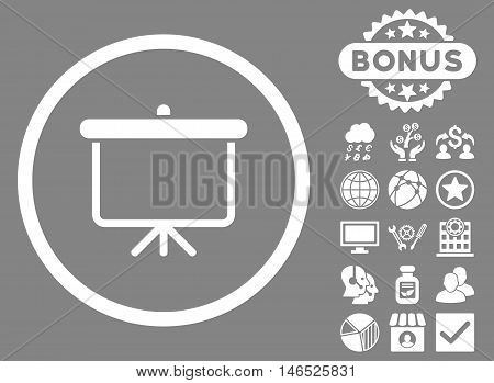 Projection Board icon with bonus. Vector illustration style is flat iconic symbols, white color, gray background.