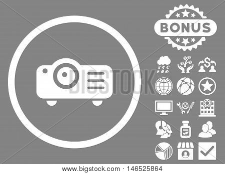 Projector icon with bonus. Vector illustration style is flat iconic symbols, white color, gray background.