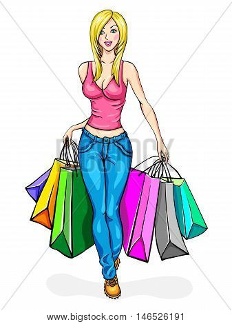 Girl blonde, carries a lot of shopping bags, shopping. Vector illustration