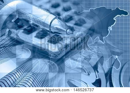 Financial background in blues with map calculator buildings and pen.