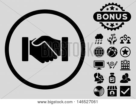 Acquisition Handshake icon with bonus. Vector illustration style is flat iconic symbols, black color, light gray background.