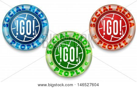 Three icon with color back light and the words social media. Vector illustration.