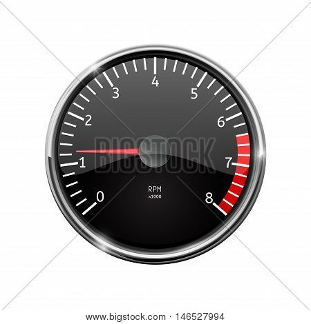 Tachometer. Realistic illustration with chrome frame. Vector isolated on white background