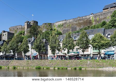 BOUILLON BELGIUM - AUG 13: Belgian medieval city along river Semois with promenade and castle on August 13 2016 in Bouillon Belgium