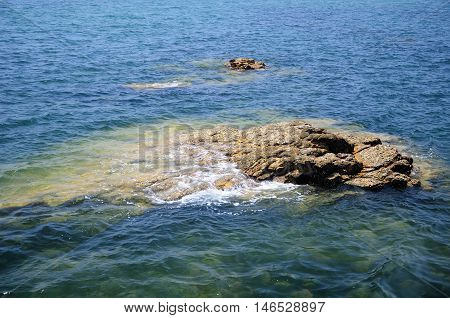 A rock in Taiping bay in the city of Qingdao China located in Shandong province.