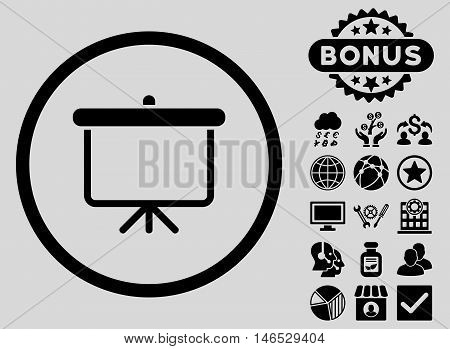 Projection Board icon with bonus. Vector illustration style is flat iconic symbols, black color, light gray background.