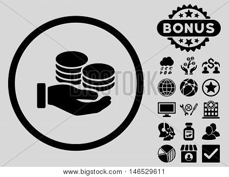 Salary Coins icon with bonus. Vector illustration style is flat iconic symbols, black color, light gray background.