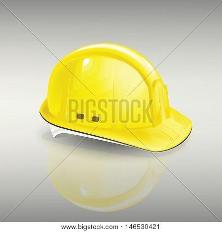 construction helmet protection vector yellow head contractor, work