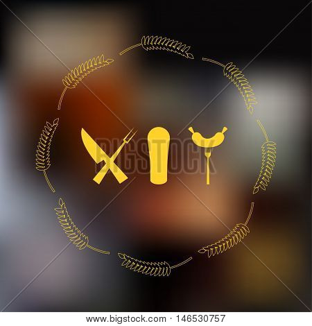 Icons: a pint of beer, sausage on a fork, a knife and fork on blurred background