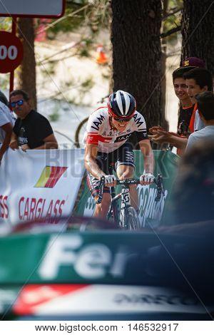 CASTELLON - SEPTEMBER 7: Mathias Frank approaches to finish line in Mas de la Costa mountain stage of la vuelta on September 7, 2016 in Castellon, Spain