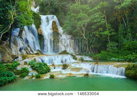 Kuang Si waterfalls the most famous waterfalls in Lao.