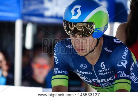 JAVEA - SEPTEMBER 9: Esteban Chaves concentrates for the decisive time trial stage of La Vuelta on September 9, 2016 in Alicante, Spain