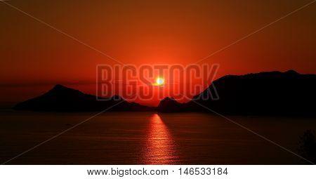 Sundown/sunset On Corfu Island Town Afionas (greece)