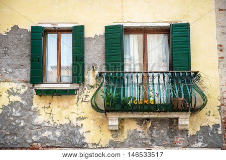 Old building with a balcony in Venezia Italy