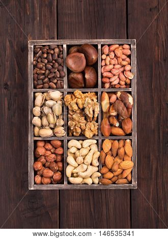 Old box of variety nuts top view