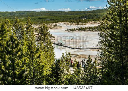 Yellowstone National Park, USA - May 17, 2016: Aerial view of people walking on boardwalk of Norris Geyser basin by blue hot springs and steam vapor framed by pine trees
