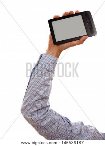 Man s Hand holding e-book reader isolated on white background in studio