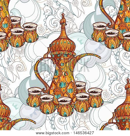 Arabic coffee maker pot dalla with cups seamless pattern. Greeting card or invitation, hand drawn sketch.Zen art hand drawn.