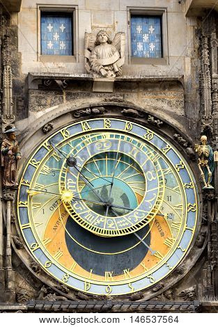 Prague astronomical clock at the Old Town closeup