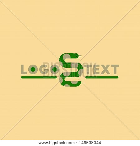 flat icon on stylish background snake logo. Vector.