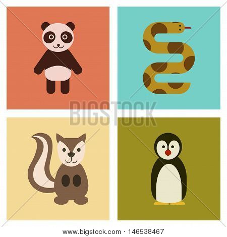 assembly of flat icons nature Panda bear snake squirrel penguins. Vector.