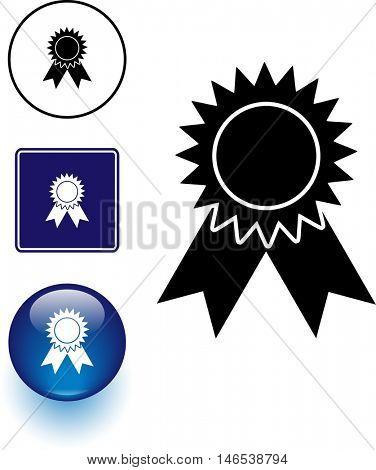ribbon award symbol sign and button