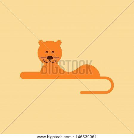 flat icon on stylish background cartoon lioness