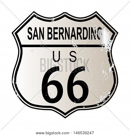 San Bernardino Route 66 traffic sign over a white background and the legend ROUTE US 66