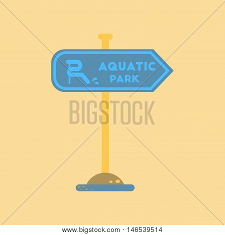 flat icon on stylish background sign aquatic park. Vector.