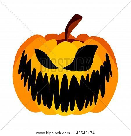Isolated Vector Yellow Orange Festive Scary Halloween Pumpkin with a Scary Jack Face on White Background, Spooky Single Icon