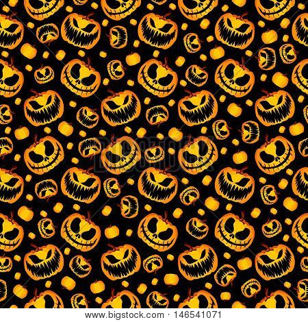 Isolated Vector Yellow Orange Festive Scary and Spooky Halloween Pumpkin on Black Background, Holiday Seamless Halloween Pattern