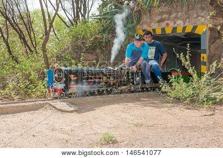 BLOEMFONTEIN SOUTH AFRICA SEPTEMBER 10 2016: Fully working steam and diesel engines operate on a 1/4 mile circuit at the site of the Bloemfontein Society of Model Engineers at Modenso Park.